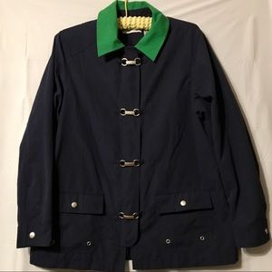 Alfred Dunner jacket navy green EUC size 10